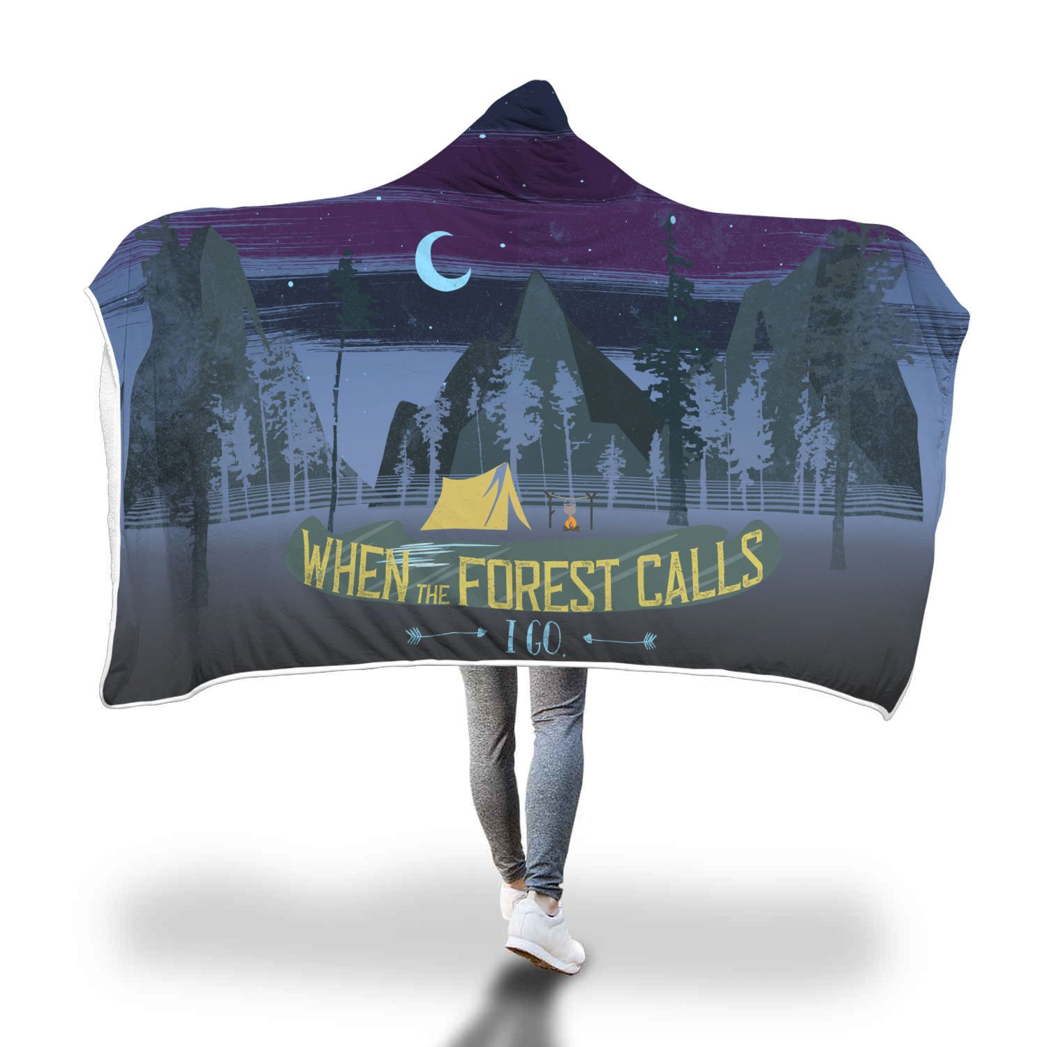 When the Forest Calls Dawn Hooded Blanket