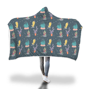 Succulent Garden Hooded Blanket