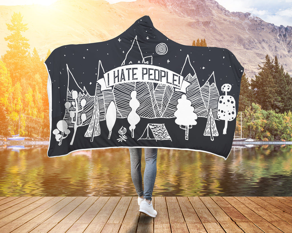 I Hate People Hooded Blanket