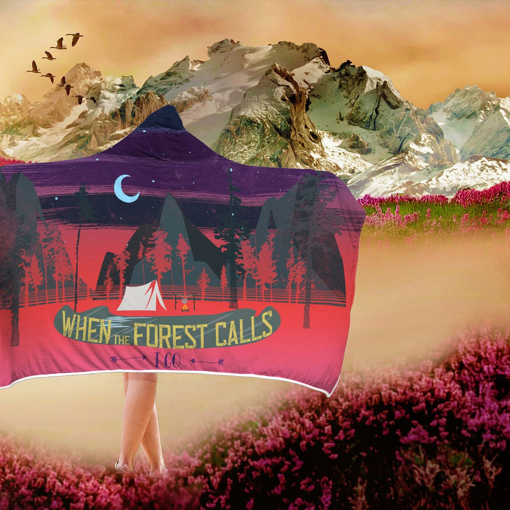 When the Forest Calls Sunset Hooded Blanket