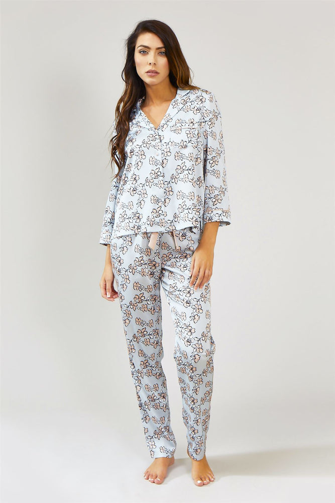 Load image into Gallery viewer, Nightwear Womens Nightwear Shirt - Floral in Duck Egg Blue from Pretty You London