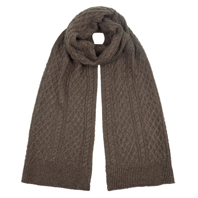 Accessories Men's Classic Brown Cable Knit Scarf from Pretty You London