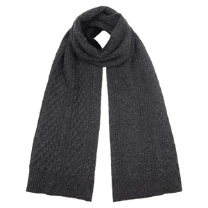Accessories Men's Classic Charcoal Grey Cable Knit Scarf from Pretty You London