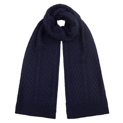 Accessories Men's Classic Navy Cable Knit Scarf from Pretty You London