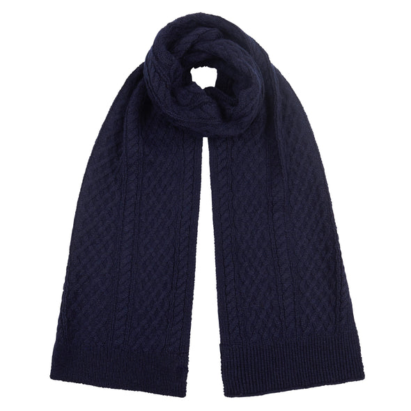 Men's Classic Navy Cable Knit Scarf