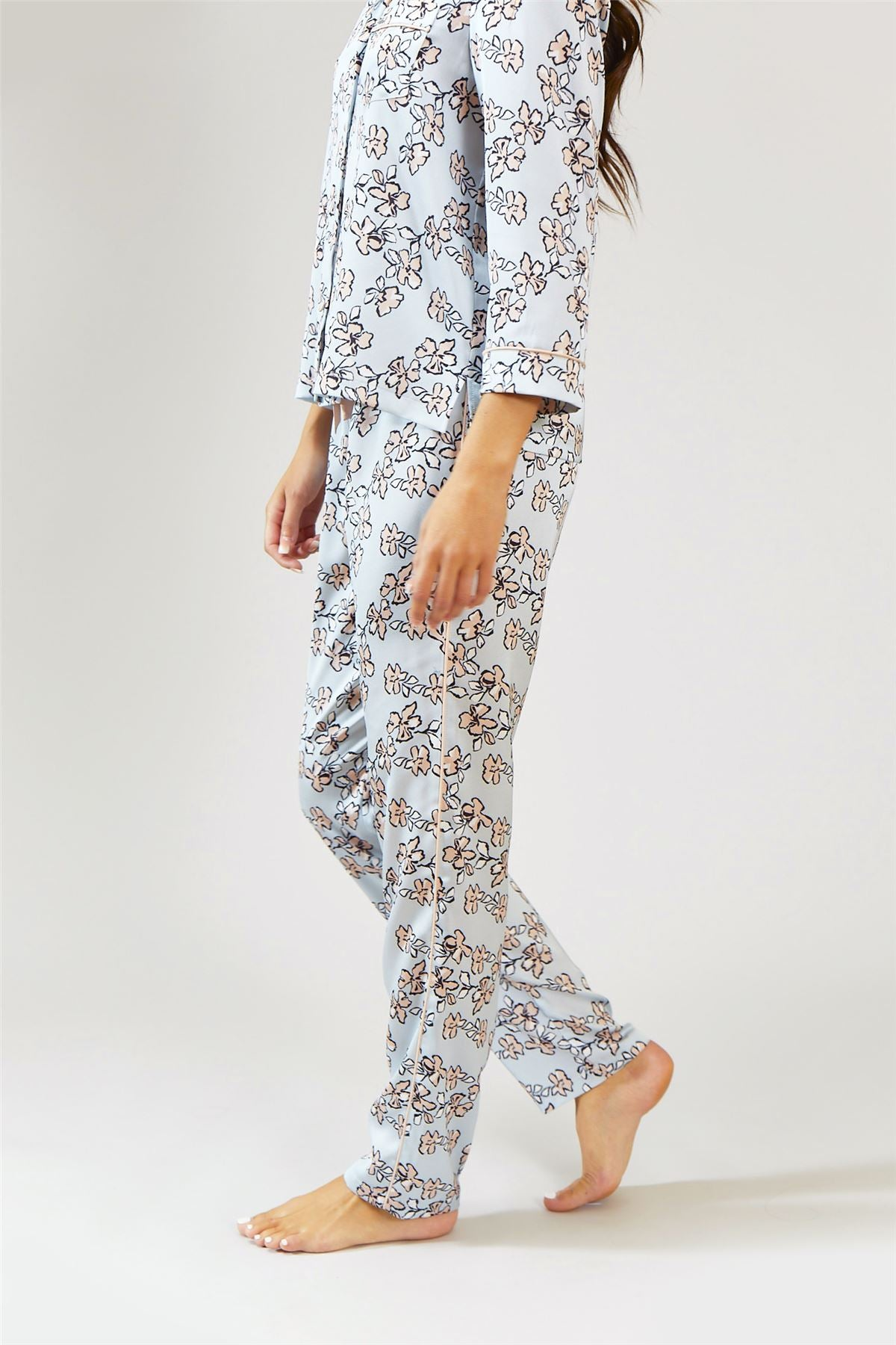 c4ebbcab17 Womens Nightwear Trousers - Floral in Duck Egg Blue – Pretty You ...