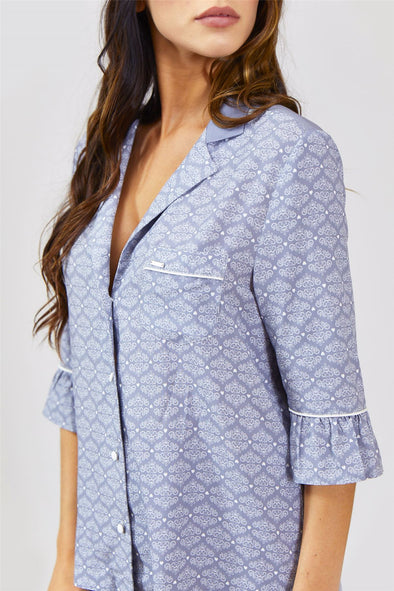Womens Nightwear Blouse - Romance in Grey