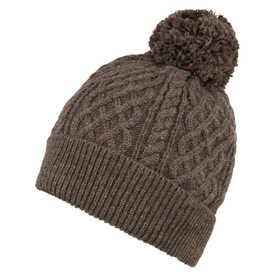 Men's Classic Brown Cable Knit Beanie