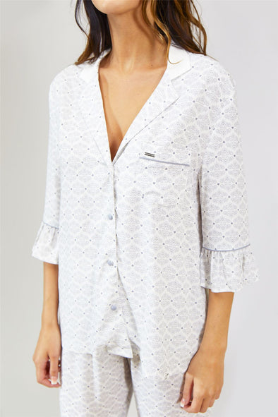 Womens Nightwear Blouse - Romance in White