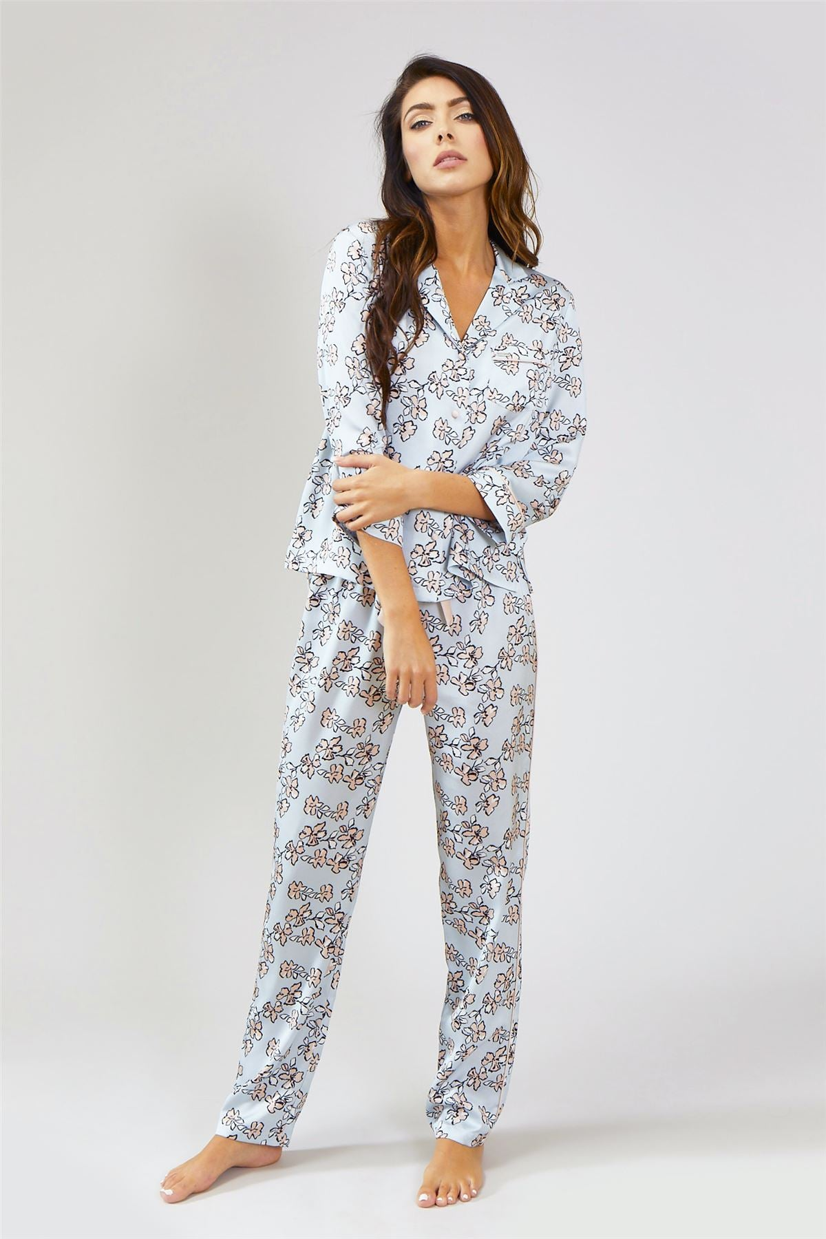 5cd0356d61 Womens Nightwear Shirt - Floral in Duck Egg Blue – Pretty You London US