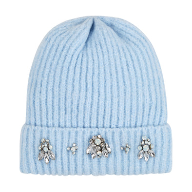 Baby Blue Embellished Chunky Knit Beanie