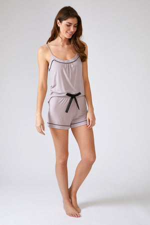 Load image into Gallery viewer, Nightwear Womens Bamboo Cami and Short Pyjama Set Oyster from Pretty You London