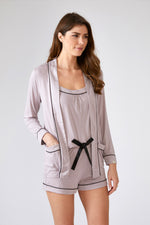 Nightwear Womens Bamboo Nightwear Jacket Oyster from Pretty You London