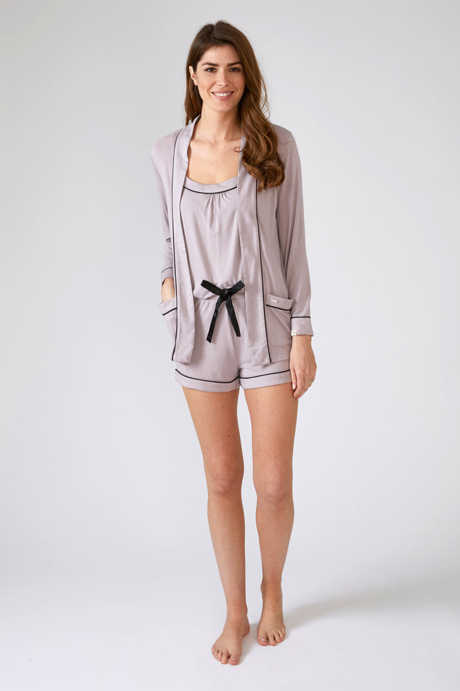 Load image into Gallery viewer, Nightwear Womens Bamboo Nightwear Jacket Oyster from Pretty You London