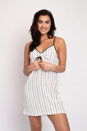EcoVero Chemise Nightdress in Ecru Stripe