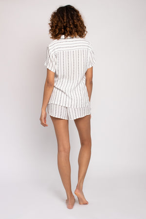 EcoVero Shirt Short Pajama Set in Ecru Stripe
