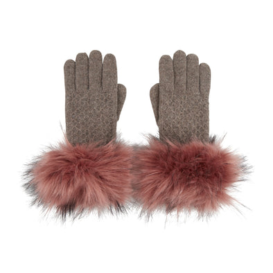 Premium Pink Faux Fur Cuff Gloves