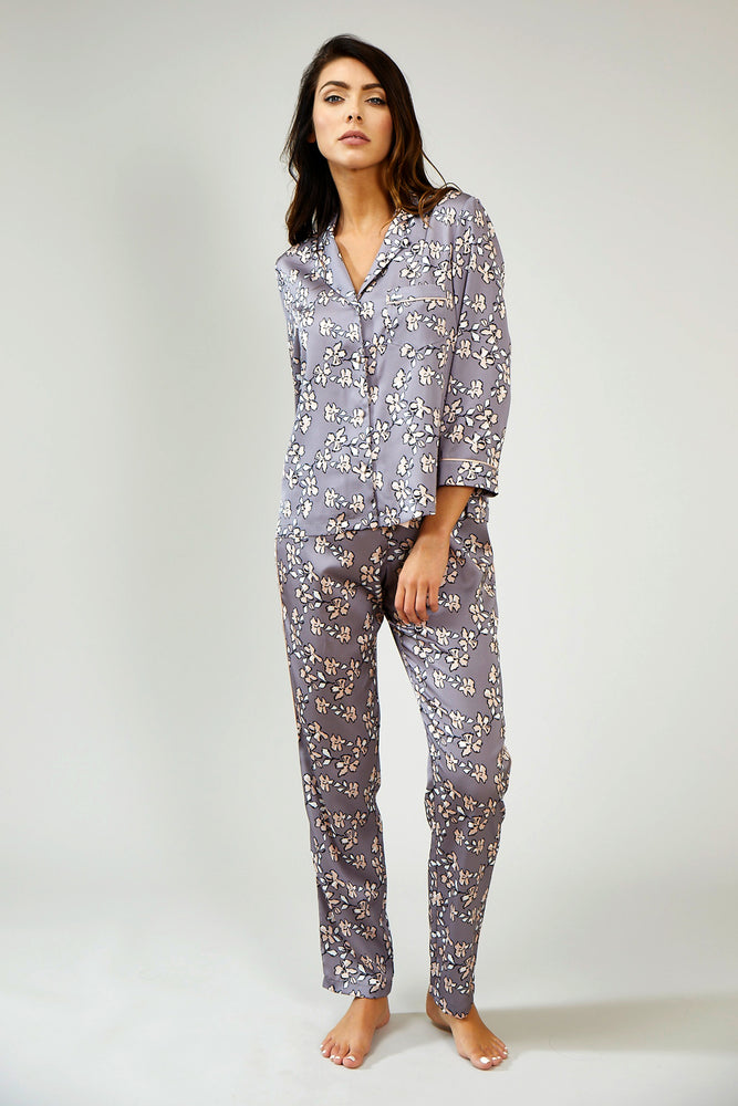 Nightwear Womens Nightwear Trousers - Floral in Dove Grey from Pretty You London