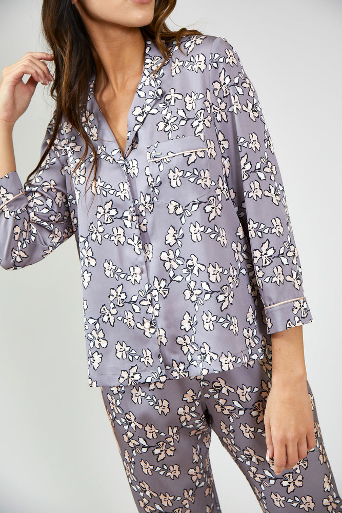 Load image into Gallery viewer, Nightwear Womens Nightwear Shirt - Floral in Dove Grey from Pretty You London
