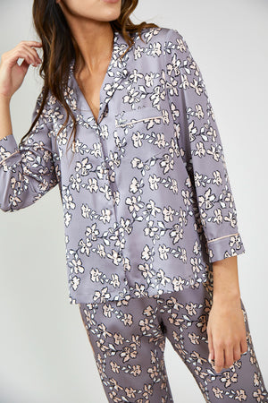 Load image into Gallery viewer, Nightwear Womens Nightwear Trousers - Floral in Dove Grey from Pretty You London