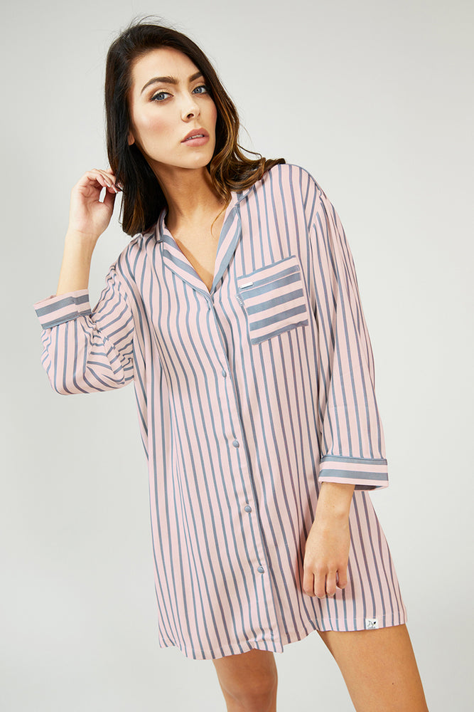 Load image into Gallery viewer, Nightwear Womens Stripe Nightshirt - Pink/Grey from Pretty You London