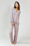 Nightwear Womens Stripe Pyjama Set - Pink/Grey from Pretty You London