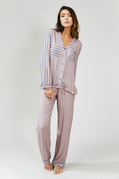 Womens Stripe Pyjama Set - Pink/Grey