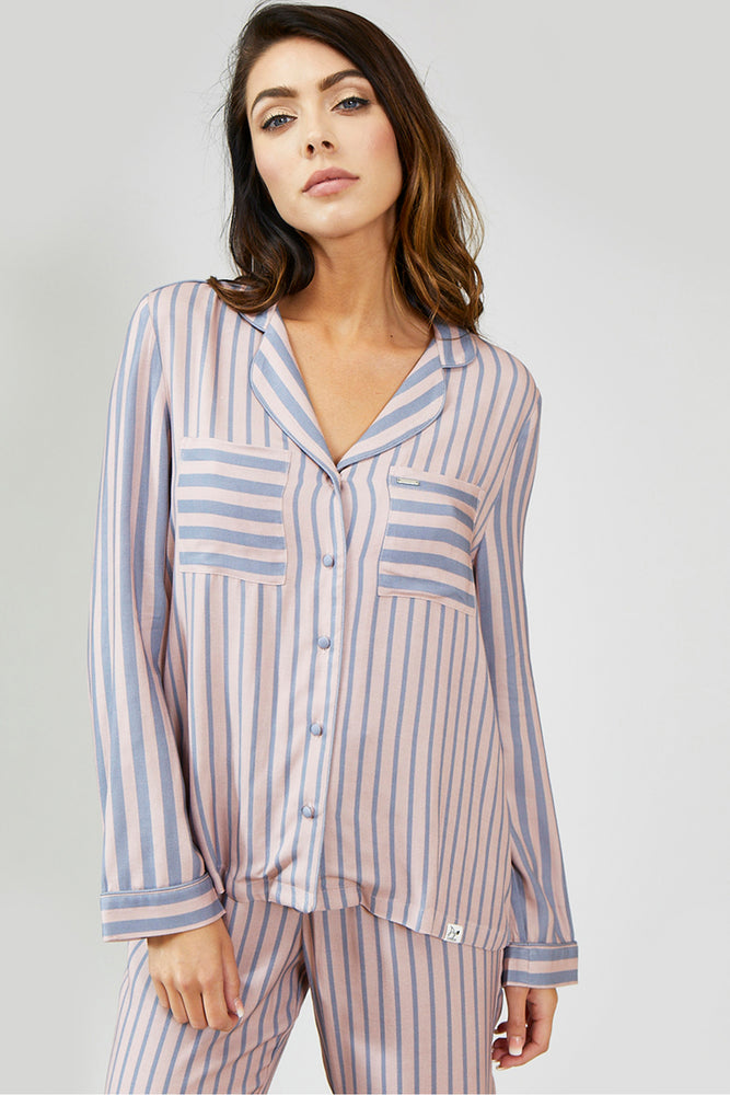 Load image into Gallery viewer, Nightwear Womens Stripe Pyjama Set - Pink/Grey from Pretty You London
