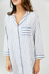 Womens Stripe Nightshirt - Grey/Ecru
