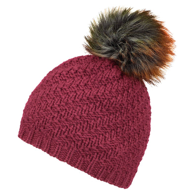 Womens Burgundy Hat with Giant Pom from Pretty You London – Pretty ... 0121a258b87
