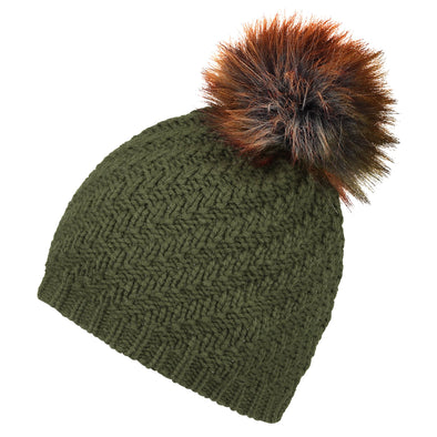 Accessories Classic Khaki Faux Fur Pom Beanie Hat from Pretty You London