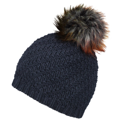 Accessories Classic Navy Faux Fur Pom Beanie Hat from Pretty You London