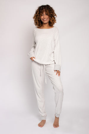 Load image into Gallery viewer, Organic Cotton Lounge Set in Grey Ecru