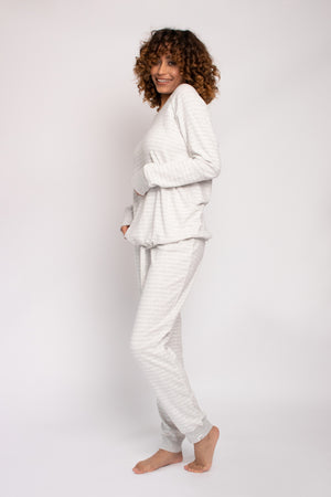 Organic Cotton Lounge Set in Grey Ecru