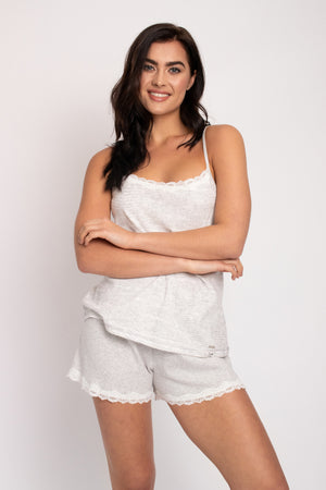 Organic Cotton Cami Short Set in Grey Ecru