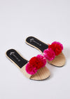 Sandals Womens Slider Sandals - Raffia Pom Pink from Pretty You London