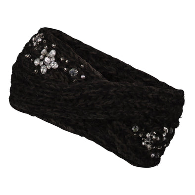 Accessories Black Embellished Twist Knit Headband from Pretty You London