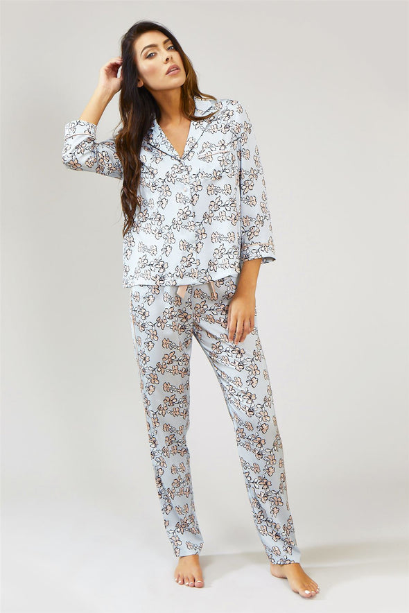 Womens Nightwear Trousers - Floral in Duck Egg Blue