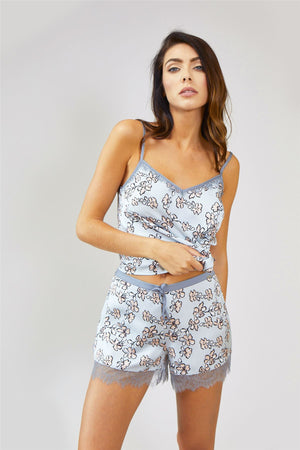 Nightwear Womens Nightwear Shorts - Floral in Duck Egg Blue from Pretty You London