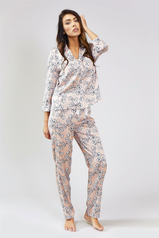 Load image into Gallery viewer, Nightwear Womens Nightwear Trousers - Floral in Blush Pink from Pretty You London