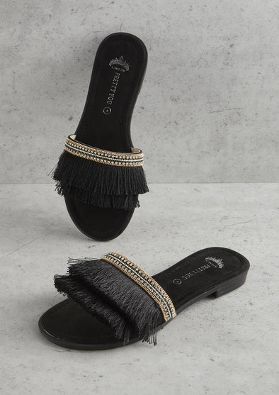 Sandals Womens Black Fringe Sandal from Pretty You London