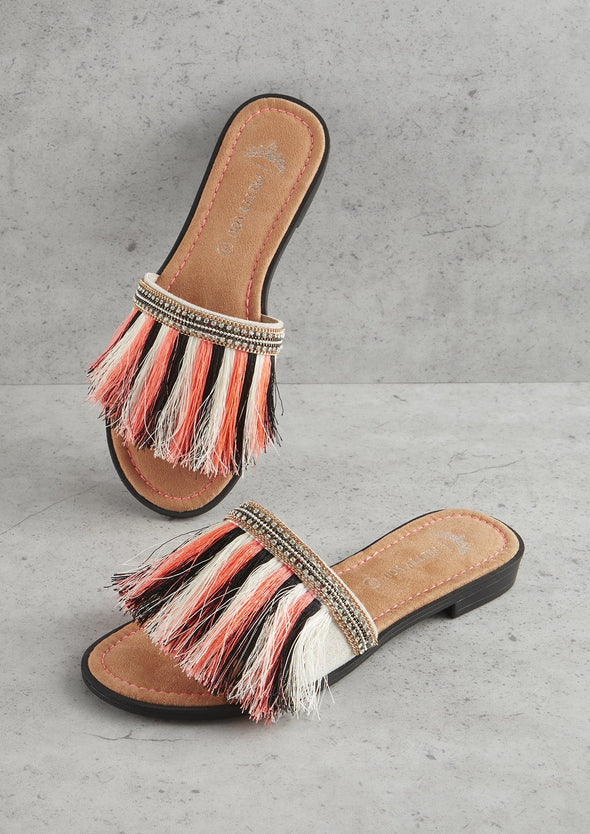 Womens Orange Fringe Sandal
