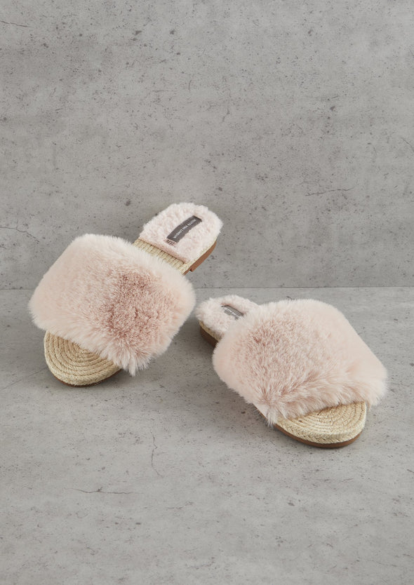 Sandals Pink Faux Fur Sandal from Pretty You London