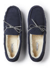 Mens Men's Navy Premium Suede Faux Fur Lined Moccasin Slipper from Pretty You London