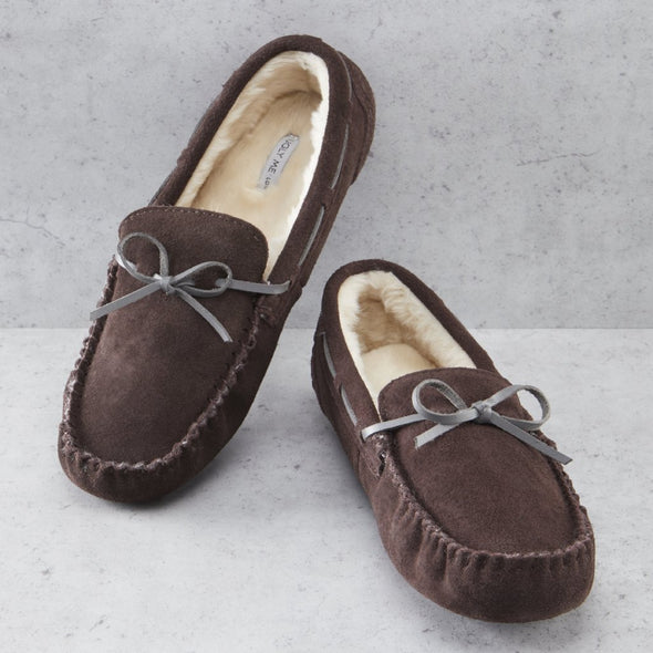 Men's Brown Premium Suede Faux Fur Lined Moccasin Slipper