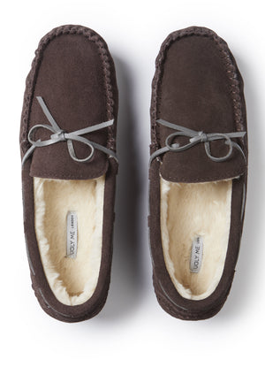 Mens Men's Brown Premium Suede Faux Fur Lined Moccasin Slipper from Pretty You London