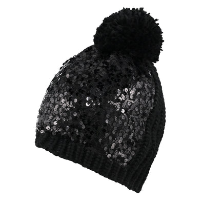 Accessories Black Sequin Knit Beanie & Scarf Set from Pretty You London
