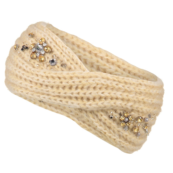 Cream Embellished Twist Knit Headband