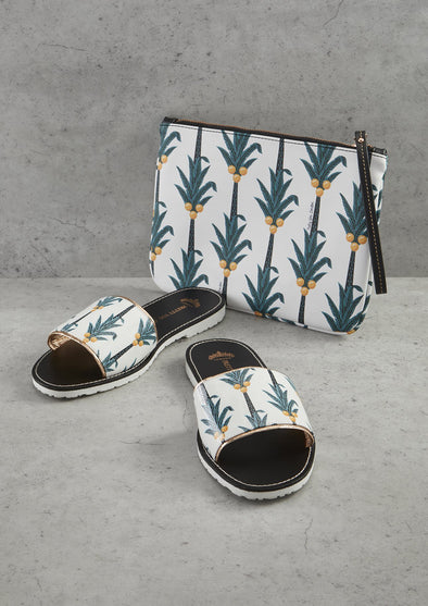 Womens Coconut Printed Slide and Clutch Set