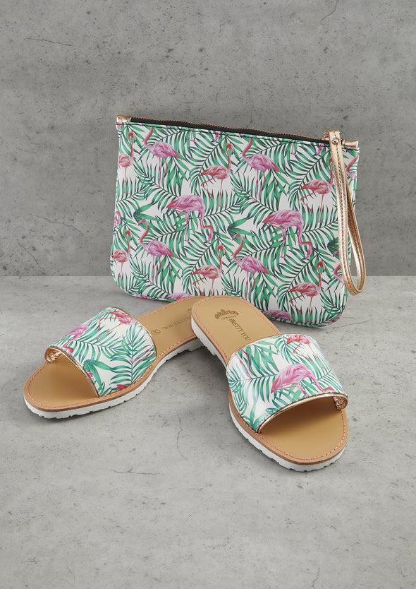 Womens Flamingo Printed Slide and Clutch Set